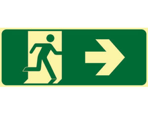 Luminous emergency exit right sign by Australian standards