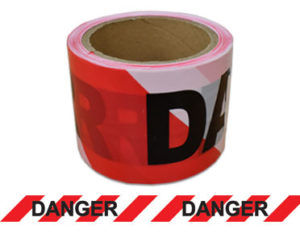 Danger tape - red and white striped barrier tape