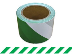 Green and white barrier tape