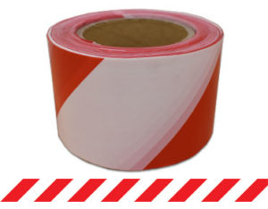 Red and white striped barrier tape