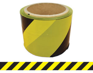 Black and yellow striped barrier tape