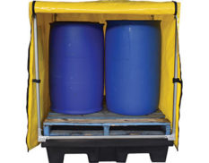 Four-drum spill pallet covers with frame - open