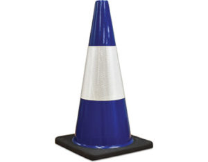 Blue safety cones
