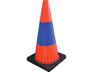 Orange safety cones with blue reflective sleeves