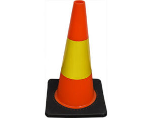 Orange safety cones with yellow reflective s