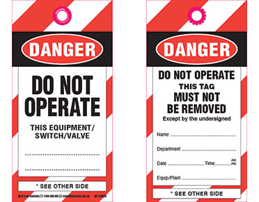 Safety tag - DANGER DO NOT OPERATE