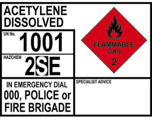 Acetylene dissolved emergency information panel
