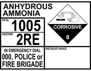 Anhydrous ammonia emergency information panel