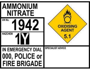 Ammonia nitrate emergency information panel