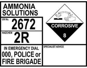 Ammonia solutions emergency information panel