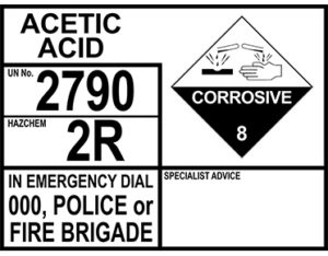 Acetic acid emergency information panel