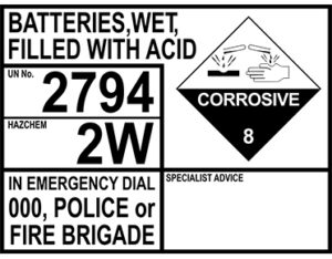 Batteries acid emergency information panel