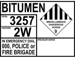 Bitumen emergency information panel