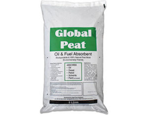 Global peat absorbent for oil and fuel spills