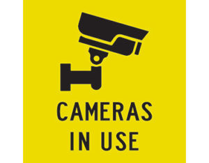 cameras in use sign