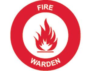 fire warden hard hat label