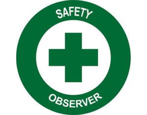 safety observer hard hat label