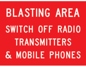 Blasting area boxed edge sign