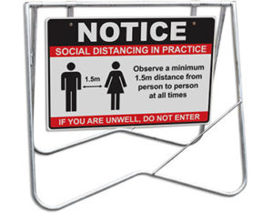 Physical distancing sign - swing stand set