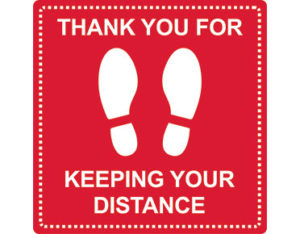 Social distancing marker - thank you for keeping your distance - square