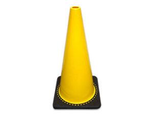 Yellow non-reflective traffic cone