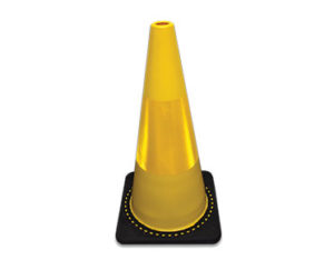 Yellow reflective safety cone