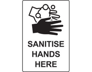 Sanitise hands here sign