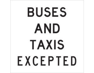 buses and taxis excepted