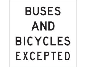 Buses and bicycles excepted